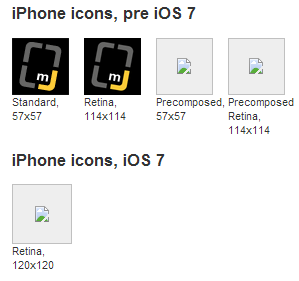 Mobile Joomla iOS7 icons