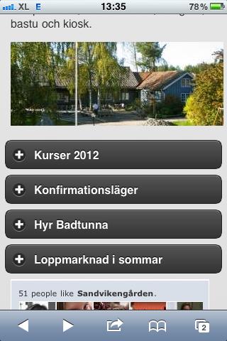 Sandvikengården Facebook widget - Mobile Joomla! Template Elegance