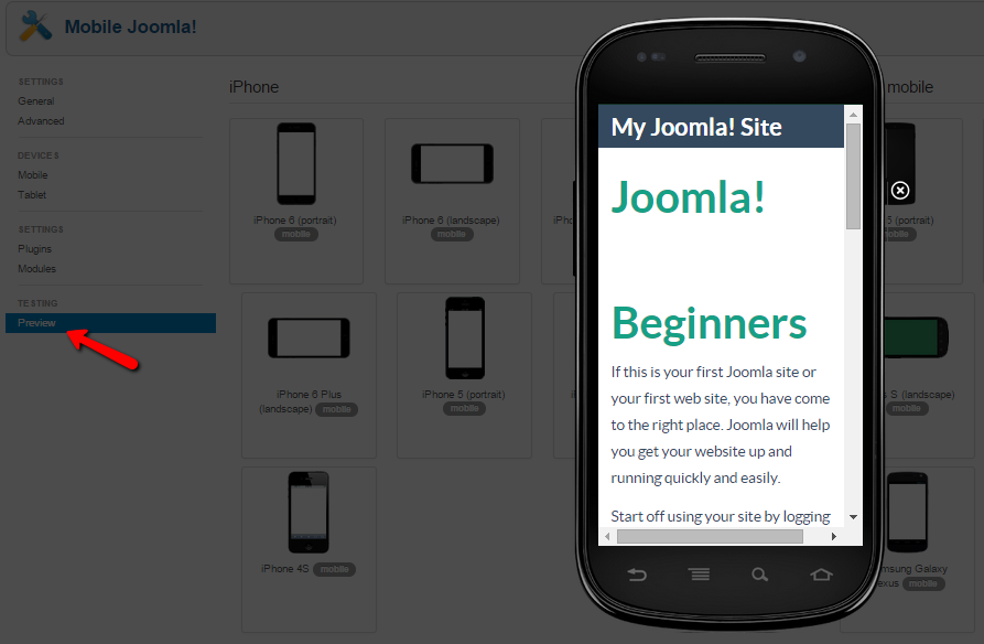 Mobile Joomla! Pro preview