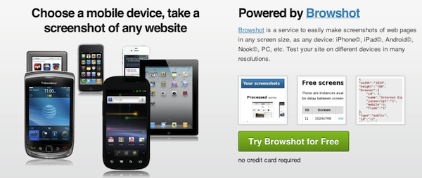 Browshot Mobile Website Testing Tool