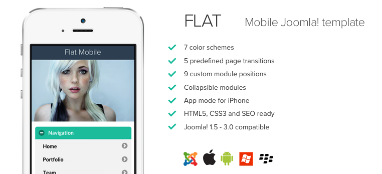 Flat Design Mobile Joomla! template