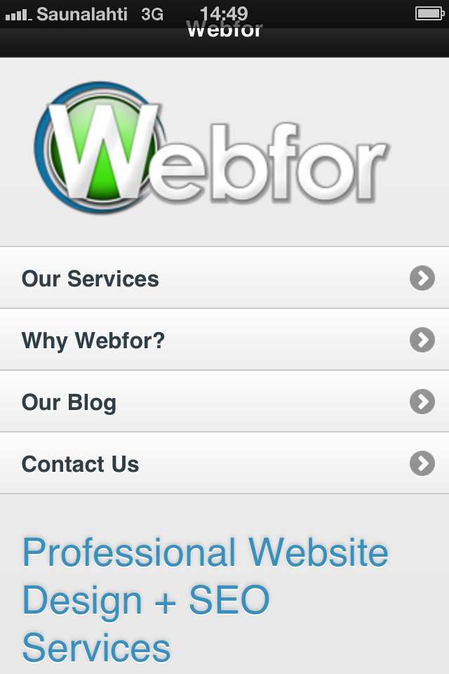 Webfor's mobile home page